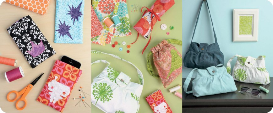 Cell Phone Case, Polished Ruffled Purse, Roll-up Pencil Case, & Drawstring Ditty Bag Photo © Design Originals