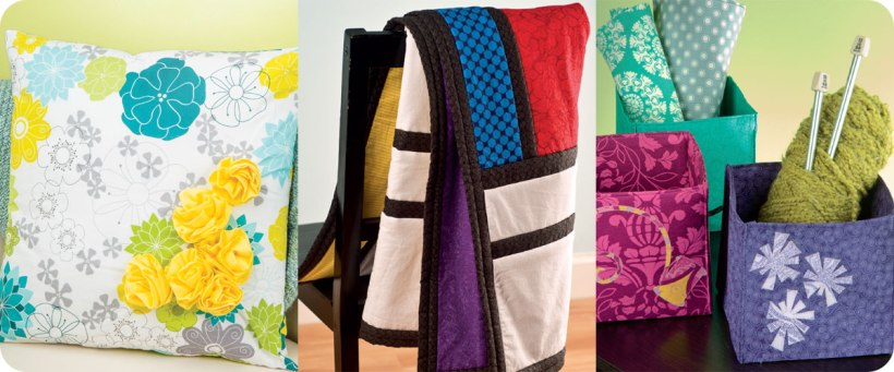 Flower Pillow Cover, Modernist Quilt, and Cube Storage Boxes Photo © Design Originals