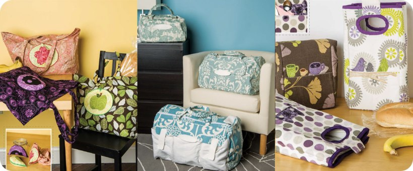 From left to right: Reusable Shopping Totes, Duffel Bags in 3 sizes, Lunch Bags Photos © Design Originals