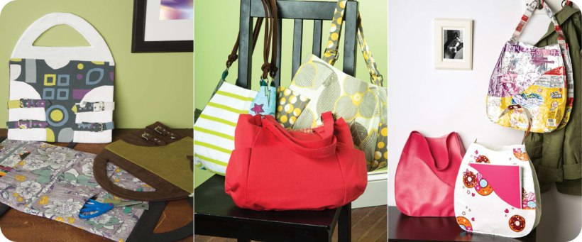 From left to right: Art & Craft Totes, Patchwork Purses with Side Pockets, Simple Shoulder Bags. Photos © Design Originals