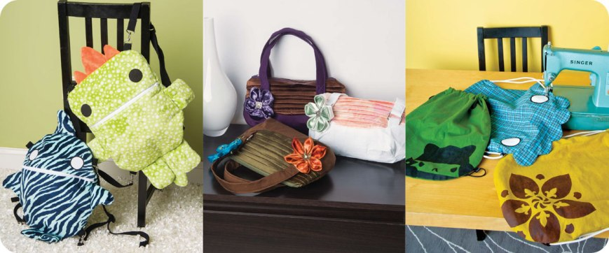 From left to right: Reversible Creature Bags, Pleated Evening Bags, Drawstring Bags. Photos © Design Originals