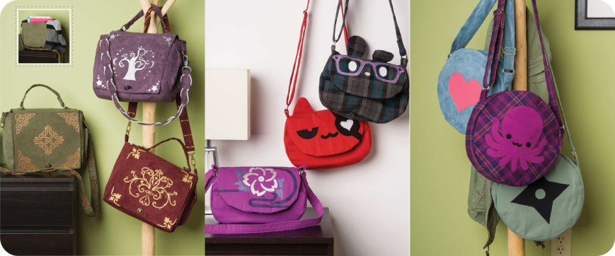 From left to right: Embellished Satchels, Crossbody Bags, Roundabout Purses. Photos © Design Originals