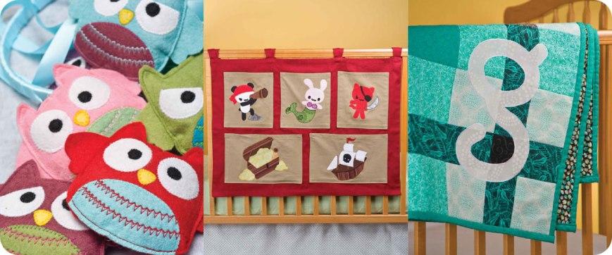 From left to right: Owl Mobile, Pirate Toy Organizer, Plaid Monogram Quilt Photos © Design Originals