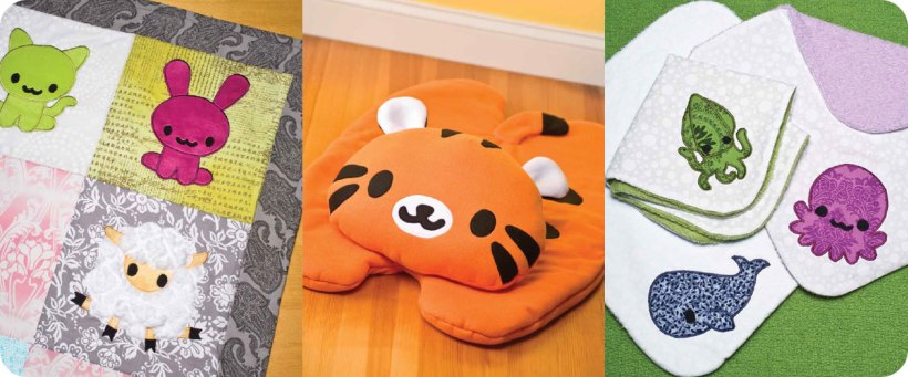 From left to right: Play mat, tiger body pillow, assortment of burp cloths. Photos © Design Originals