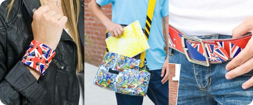 From left to right: Studded Cuff, Messenger Bag, Zipper Belt Photos © Design Originals