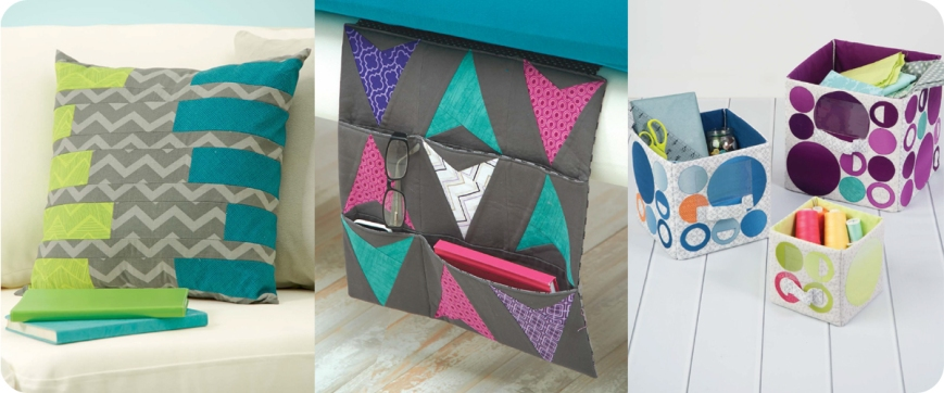 From left to right: Stylish Strips Pillow Cover, Bedside Organizer, Nesting Fabric Boxes Photos © Design Originals