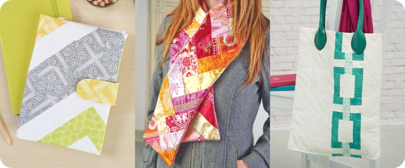 From left to right: Chevron Tablet Cover, Braided Scarf, Chain Block Purse Photos © Design Originals