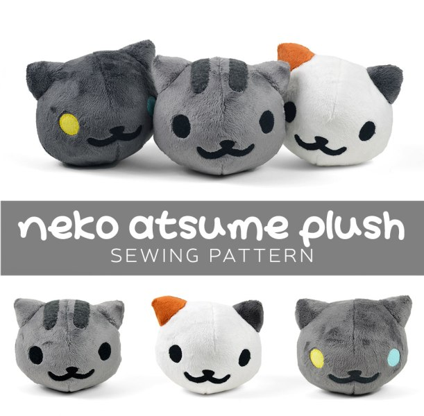 Neko Atsume Plush sewing pattern by Sew Desu Ne?