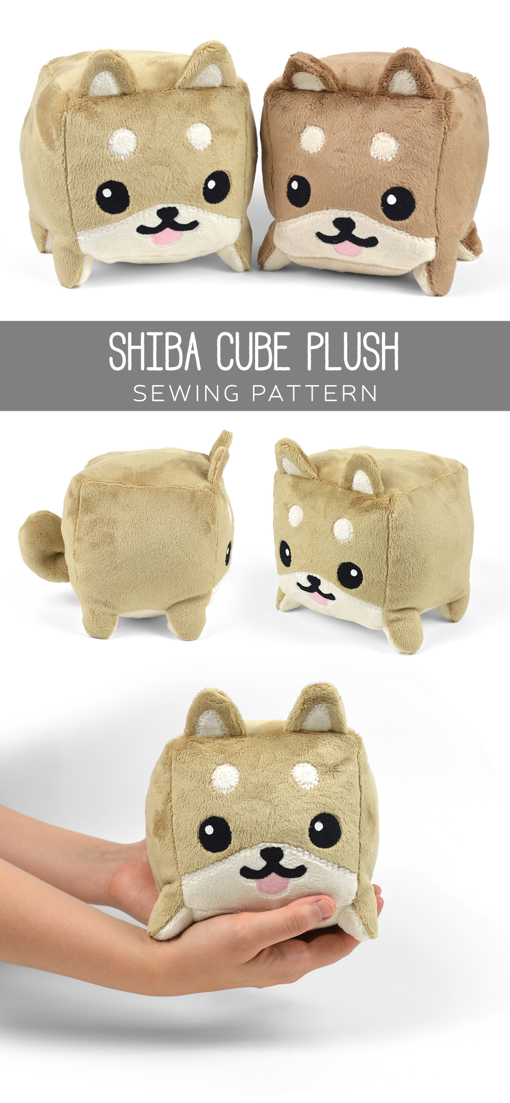 Free pattern friday shiba cube plush choly knight for Sewing templates for stuffed animals