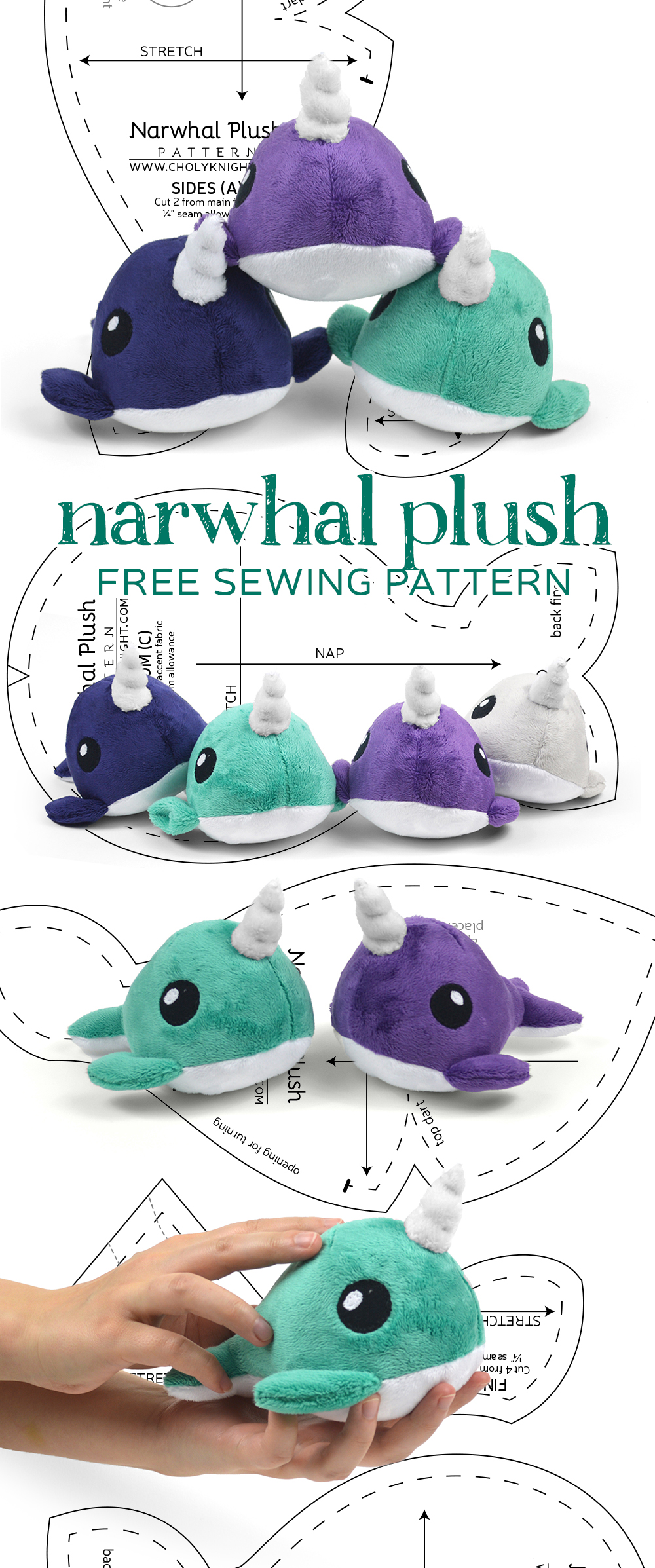 Free Pattern Friday Narwhal Plush Choly Knight