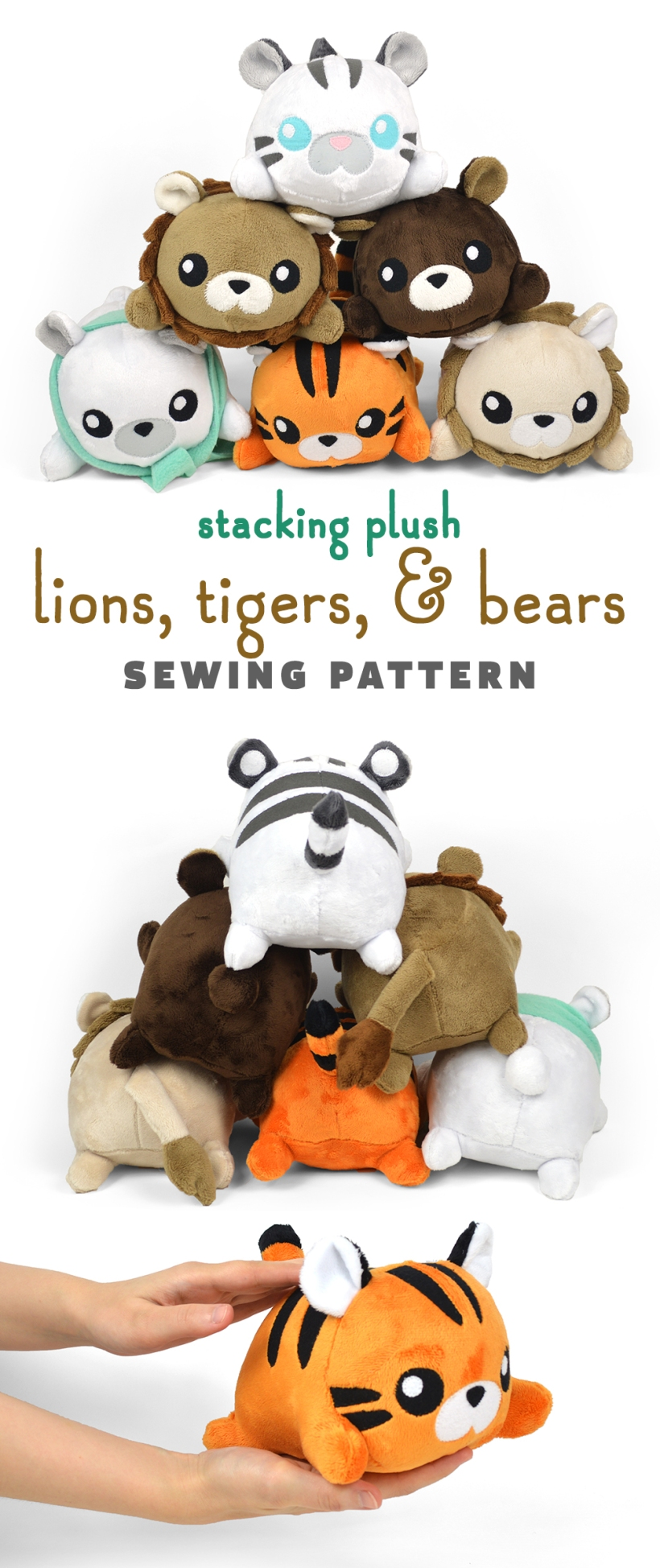 New Shop Pattern! Stacking Lions, Tigers, & Bears Plush | Choly Knight