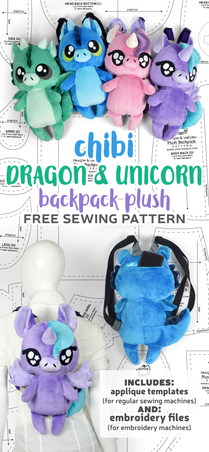 Chibi Dragon & Unicorn Plush Backpack Sewing Pattern